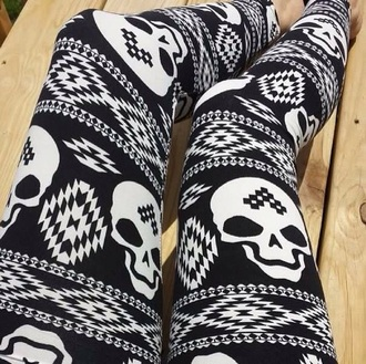 leggings skull black white