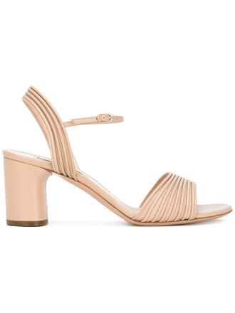 ankle strap women sandals leather nude shoes