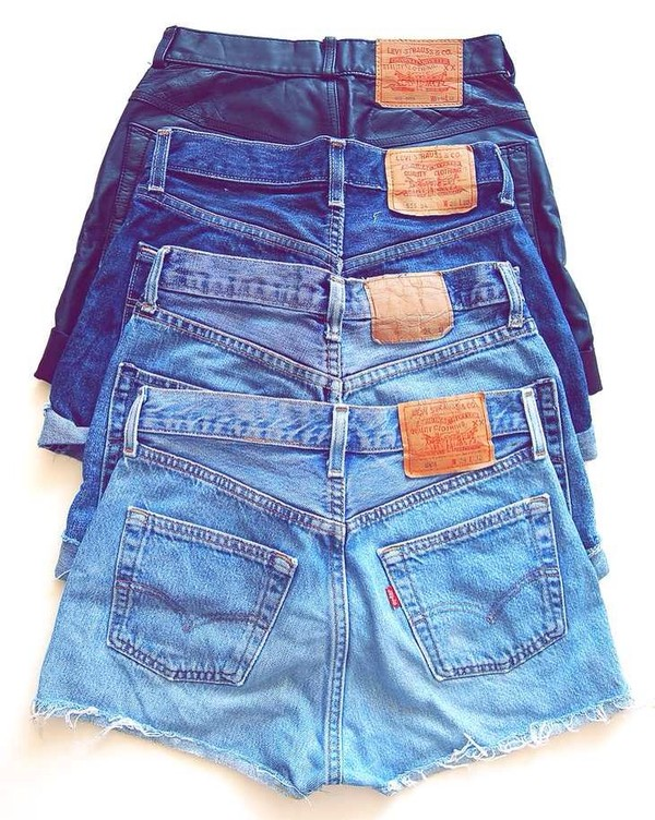 shorts levi's high waisted denim