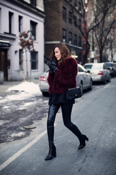 tsangtastic blogger leather pants burgundy faux fur jacket fluffy winter outfits