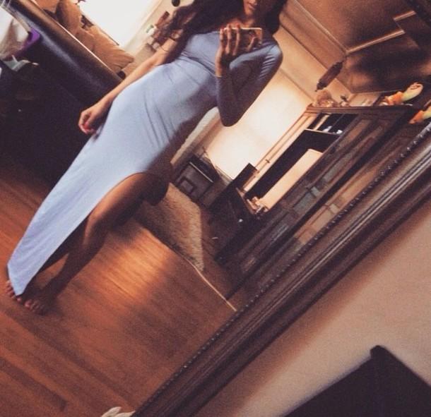 dress girl blue dress light blue cute dress slit dress one sleeved style fashion girly girly wishlist