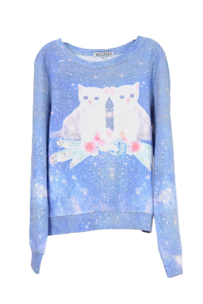 2013 New Thickened Loose Cat Pattern Pullover Sweater,Cheap in Wendybox.com