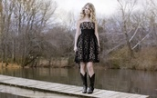 black boots,black dress,dress,shoes,shorts,taylor swift