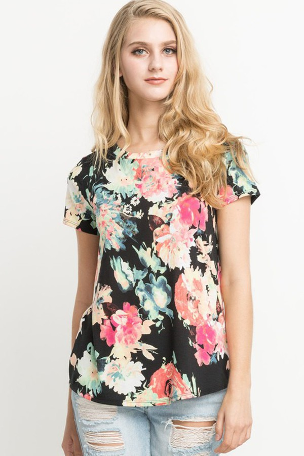 t-shirt black floral abstract
