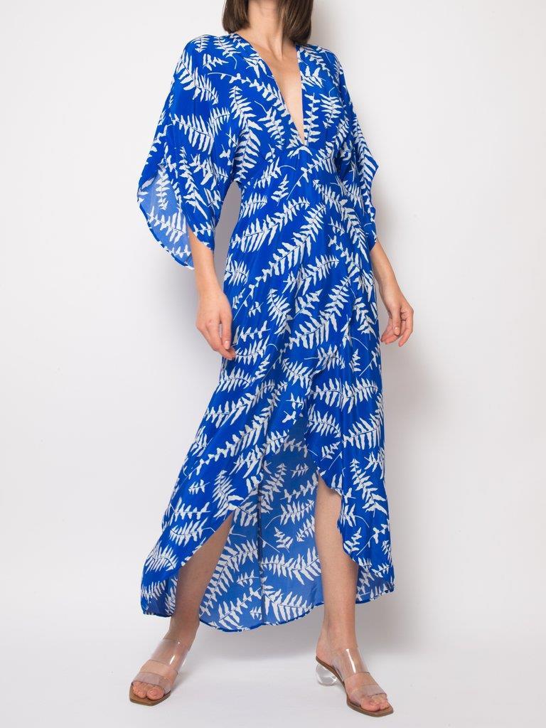 Katherine Blue Foilage Dress
