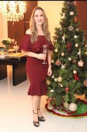 dress,burgundy dress,ruffle dress,off the shoulder top