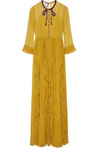 gown chiffon embellished silk mustard dress