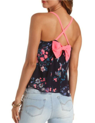 blouse floral top bow top
