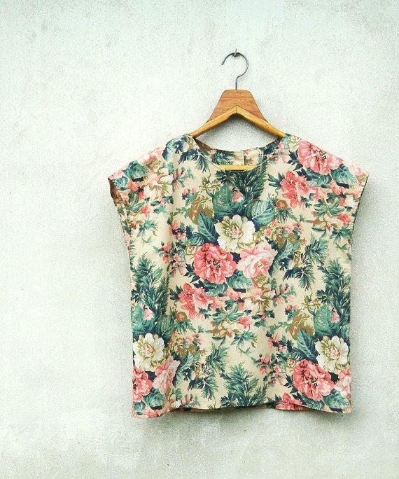 Vintage Tropical Flower Printed Beige Cap Sleeves by sweetdecade