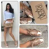 shoes,sneakers,rose gold,cute,studs,laces,metallic