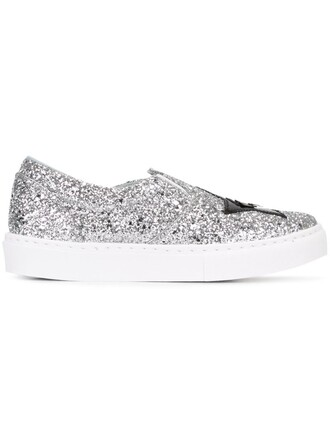 glitter women sneakers leather grey metallic shoes