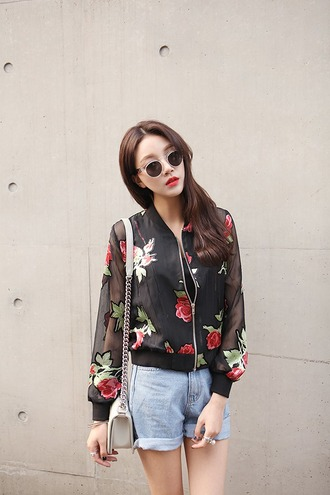 coat asian fashion korean fashion japanese fashion ulzzang kpop jacket roses black transparent sleeves tumblr