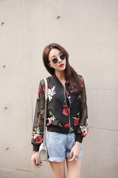 Coat Asian Fashion Korean Fashion Japanese Fashion Ulzzang Kpop Jacket Roses Black