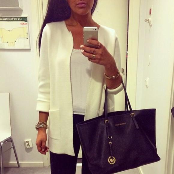 jacket white blazer corporate chic
