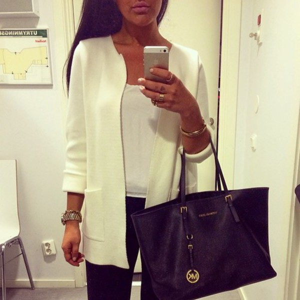 jacket white corporate chic blazer