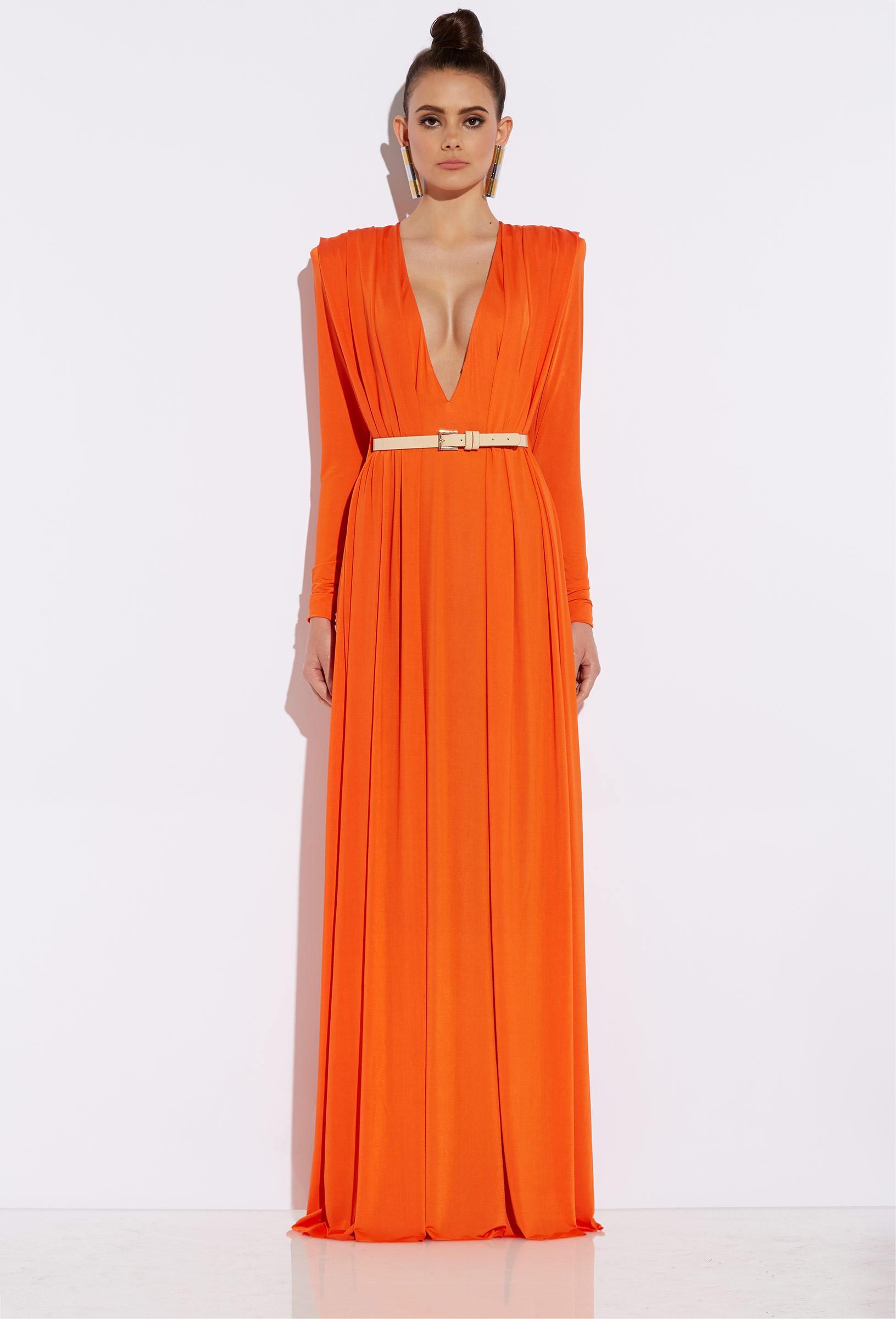 Bowie orange draped maxi dress