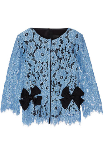 top lace top bow embellished lace silk light blue light blue
