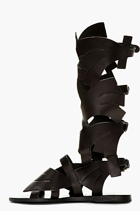 Carven black leather ancient greek sandals edition gladiator flats for women