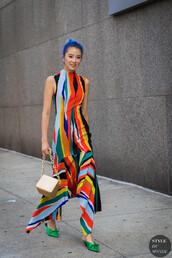 shoes,dress,multicolor dress,mules,green mules,bag,colorful dress,stripes