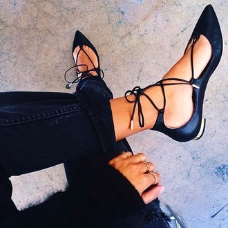 shoes flats black black shoes strappy shoes pointed flats lace up summer shoes strappy pointed flats pointy toe flats lace sandals heels black sandals tie up sandals black pointed flats strappy flats strappy heels girly girl girly wishlist flatshoes gold lace up flat shoes black flats