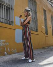pants,top,tumblr,wide-leg pants,stripes,striped pants,black top,crop tops,shoes,white shoes,mules