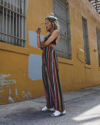 pants top tumblr wide-leg pants stripes striped pants black top crop tops shoes white shoes mules