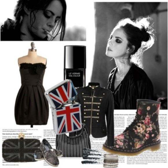 jewels jewelry lighter shoes black dress jacket flower print london flag black nailpolish bag inlove