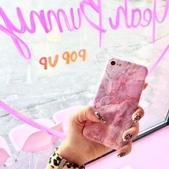 phone cover yeah bunny marble pink pastel cute