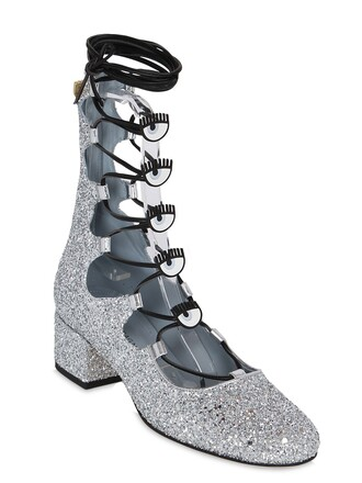 glitter eyes boots lace silver shoes