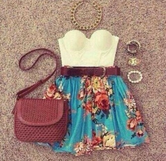 skirt summer outfits flowers flower skirt belt shirt bag girly blouse blue floral print skirt blue