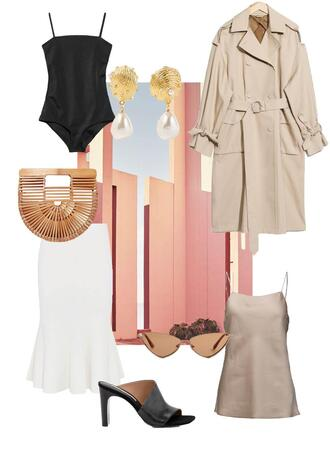 the limits of control blogger tank top coat top hat cult gaia bag trench coat earrings camisole white skirt