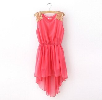 dress prom dress gold sequins pink dress coral dress high low chiffon coral gold red dress sparkling dress pink high-low dresses pin up gold studded shoulder short party dresses no sleeves cute dress cute gold and pink dress glitter sequins sleeveless dress sleeveless
