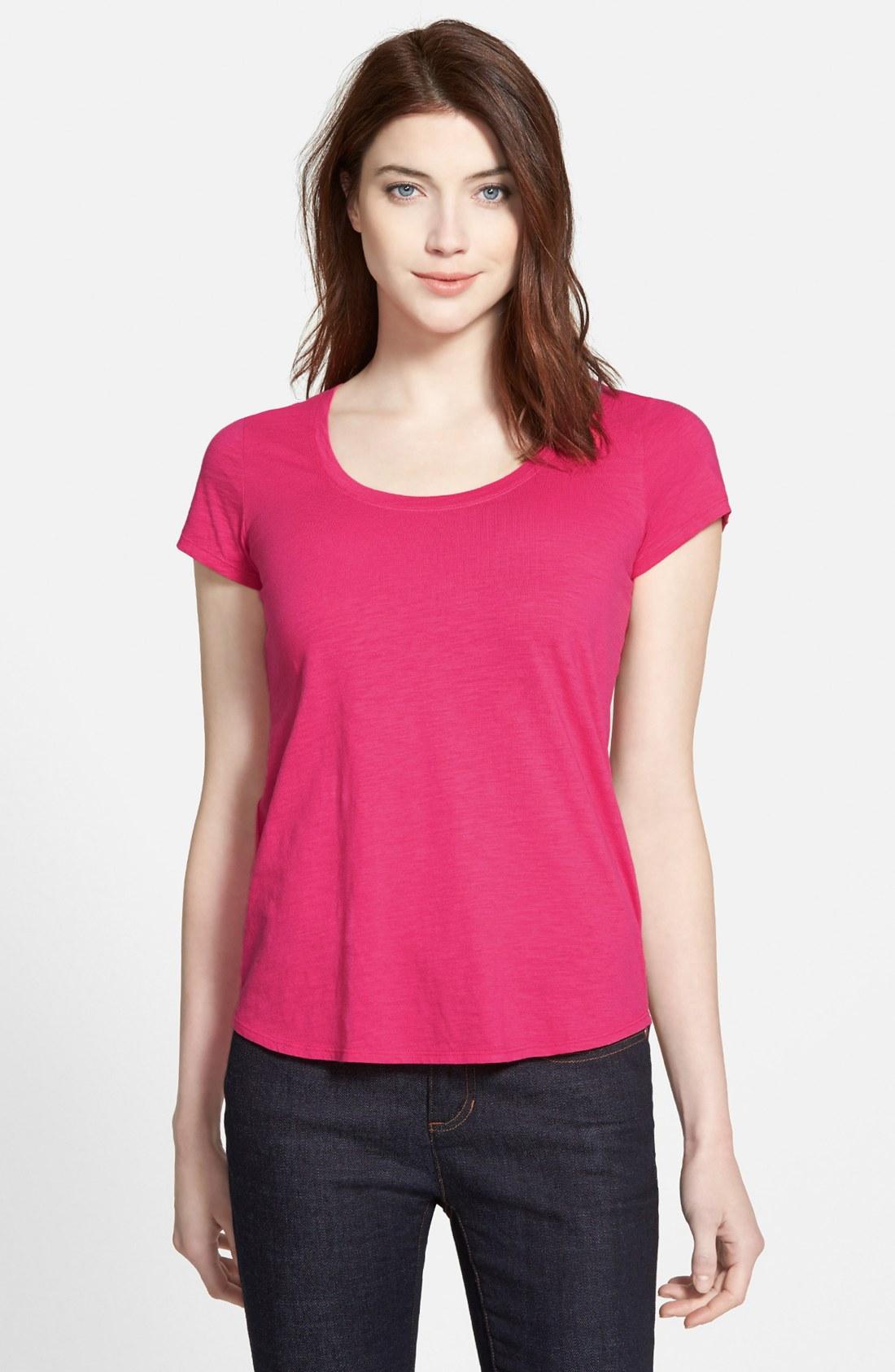Eileen fisher organic cotton scoop neck tee regular for Eileen fisher organic cotton t shirt