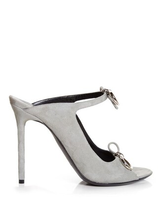 bow sandals suede light grey shoes