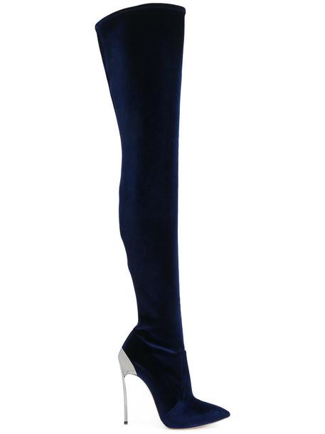 CASADEI women leather blue shoes