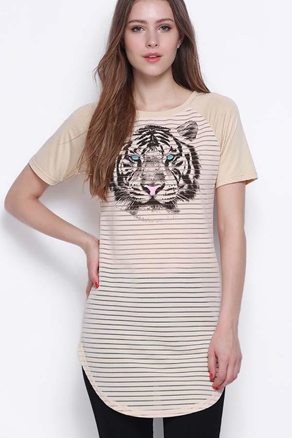 Beige Tiger Stripe Print Casual Tee Top
