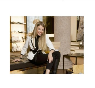 jacket white blazer with bow russian model nice blazer high neck long sleeve black top i want this blazer want this jacket blazer white blazer white blazer with black bow black bow bow bows fall outfits fall blazer fall style winter style chic elegant blazer elegant outfit elegant style elegant clothes elegant xiena tchoumi xiena model swiss russian chic russian blonde hair blue eyes feminine sweet i love this  i love this help me find this please help me find it black and white cute outfits office outfits winter shopping shopping style leggings black leggings black turtleneck top high neck black high neck top model shots magazine advert magazine photo i want this beauty lady style