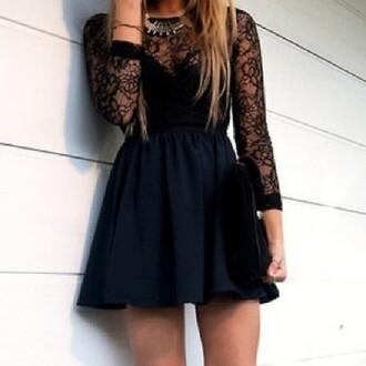 dress little black dress black dentelle robe dentelle robe robe noire pretty lace lace sleeves black dress long sleeve lace homecoming cute dress