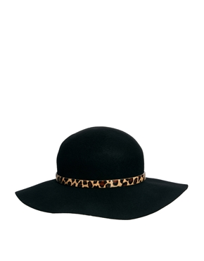 Whistles | Whistles Floppy Brim Leopard Trim Wool Felt Hat at ASOS