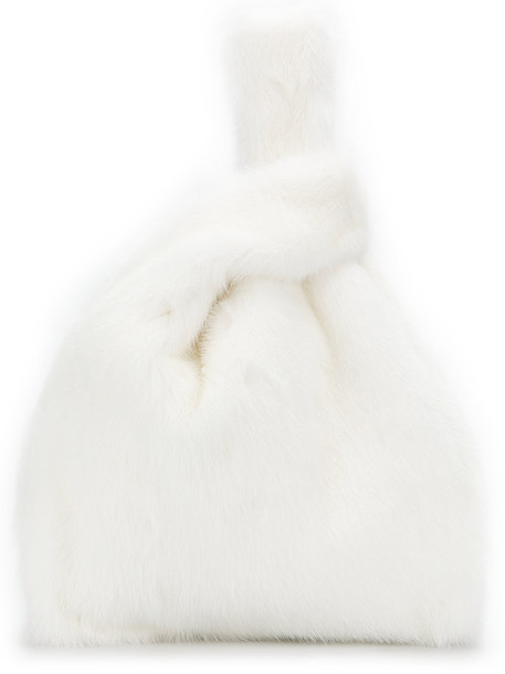 SIMONETTA RAVIZZA fur women white silk bag