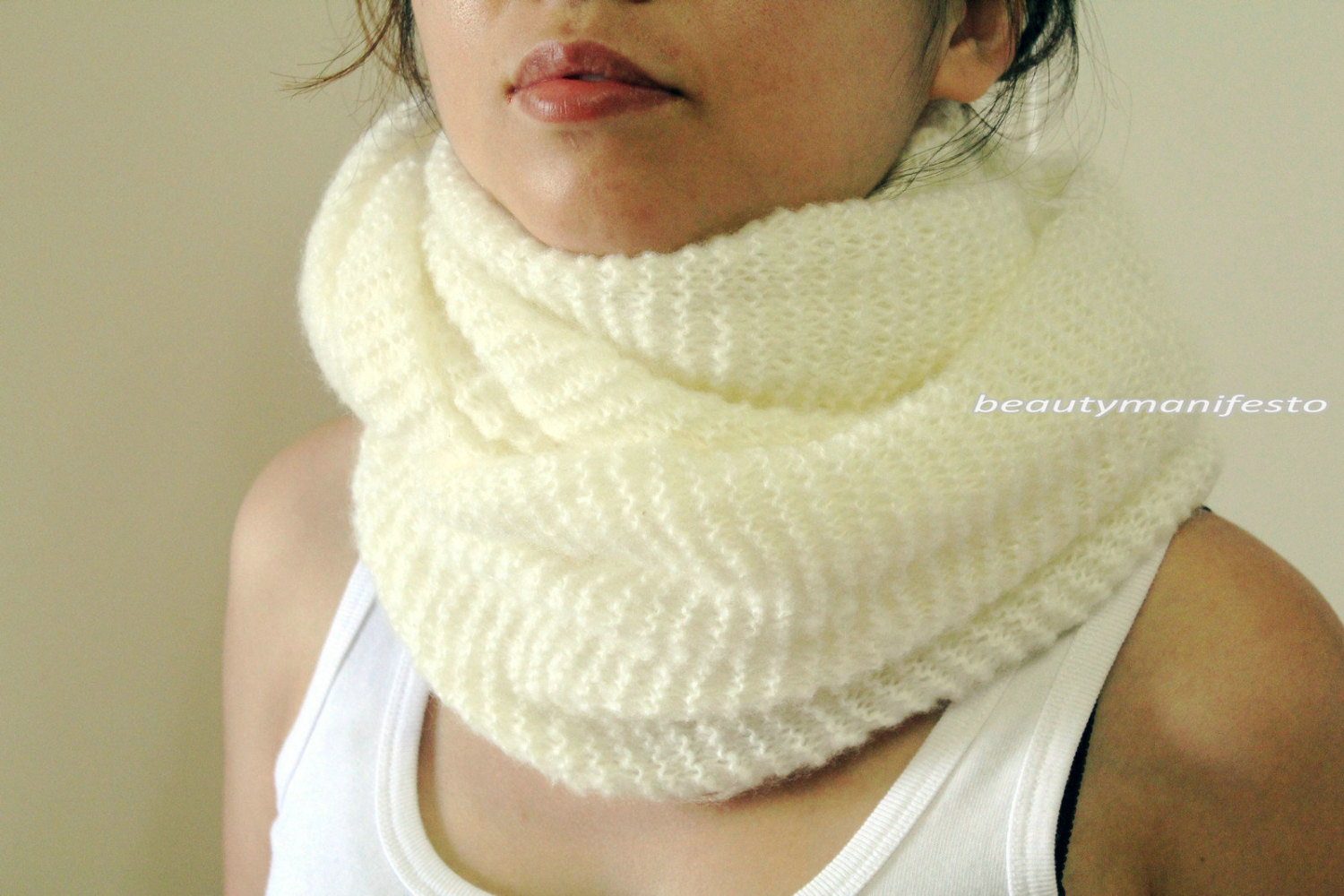 Soft fluffy cowl in cream ivory