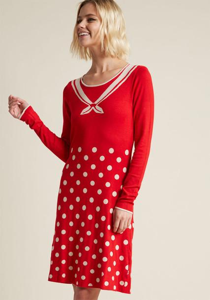 001173-361 dress sweater dress long open ocean feminine white knit red