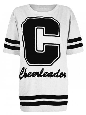 White cheerleader varsity print oversized tshirt