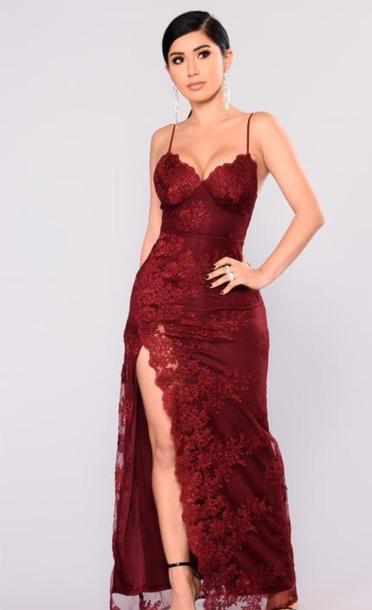 dress red lace dress