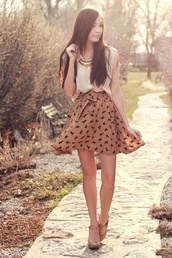 skirt,lovely,brown,dog,tan,high waisted