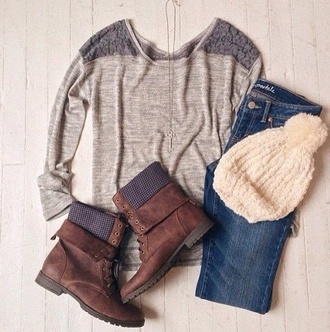 top tumblr outfit winter sweater boots tumblr sweater jeans shoes hat