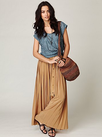 Shakuhachi  buttoned up in pleats skirt at free people clothing boutique