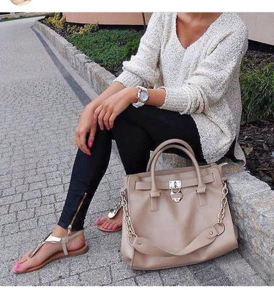 bag sweater grey jeans black jeans black leggings sparkly