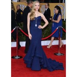 Amanda seyfried navy strapless celebrity evening dress 2013 screen actors guild awards red carpet