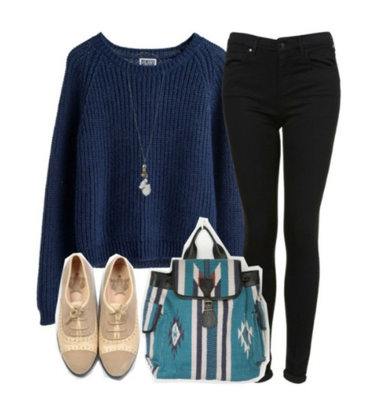 navy black pants tribal bag beige shoes